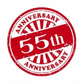 55Th Anniversary Grunge Rubber Stamp