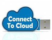 Connect To Cloud Memory Stick Means Online File Storage