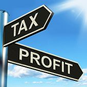 Tax Profit Signpost Means Taxation Of Earnings