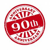 90Th Anniversary Grunge Rubber Stamp