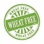picture of wheat-free  - illustration of grunge rubber stamp with the text wheat free written inside - JPG