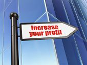 Finance concept: sign Increase Your profit on Building background