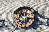 image of bonnes  - old exterior clock at a house in Bonn - JPG