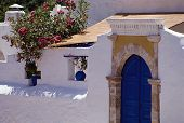 White And Blue House In Greece, Europe