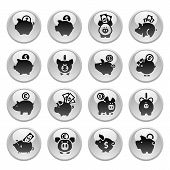 Piggy Bank, set icons on round gray button