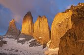 Towers In Torres Del Paine National Park, Chile.