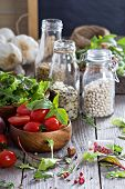 Tomatoes, salad leaves, beans and rice