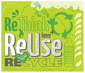 stock photo of reuse  - Think green concept illustration - JPG