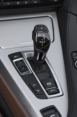 stock photo of gear-shifter  - Automatic gear shifter in premium Convertible Sports car - JPG
