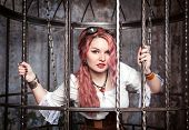 Beautiful Steampunk Woman In The Cage