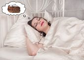 Beautiful Plus Size Woman Dreaming About Cake