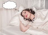 Beautiful Plus Size Woman Dreaming About Something