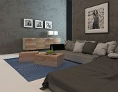 Modern living room interior with concrete walls