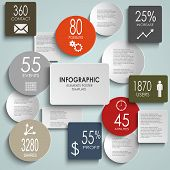 Abstract colored round rectangle info graphic template