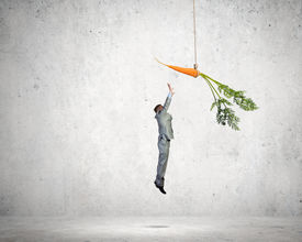 picture of dangling a carrot  - Funny image of businessman chased with carrot - JPG