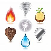 Seven Natural Elements Icons Vector Set