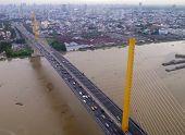 Rama9 Bridge Against Bangkok Cityscape