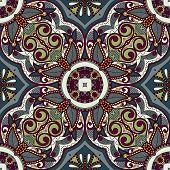 Traditional ornamental floral paisley bandanna.