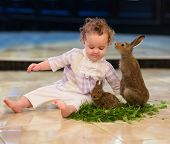 Sweet Baby Girl With Curly Hair Playing With Two Rabbits