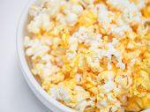 Macro Shot Of Popcorn Bowl, Selective Focus