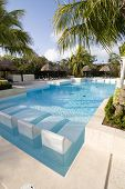 Deep Turquoise Blue Wading Pool In The Tropics