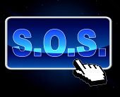Sos Button Indicates World Wide Web And S.o.s.