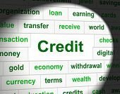 Credit Debts Represents Debit Card And Cashless