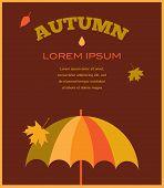 autumn time. umbrela with falling leafs