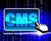 Content Management System Indicates World Wide Web And Internet