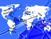 stock photo of export  - Export Worldwide Representing International Selling And Worldly - JPG