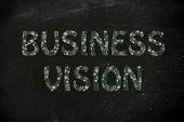 Business Vision Writing With Glowing Gearwheels Pattern