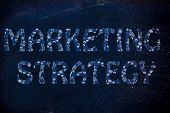 Marketing Strategy Writing With Glowing Gearwheels Pattern