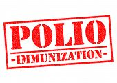 pic of polio  - POLIO IMMUNIZATION red Rubber Stamp over a white background - JPG