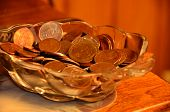 Glass Bowl Full of Coins