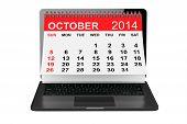 October Calendar Over Laptop Screen