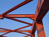 Steel construction of bridge closeup