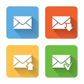 Flat Email Icons. Vector Illustration