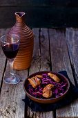 image of duck breast  - red cabbage and duck breast spicy salad in to cerami  - JPG