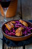 picture of duck breast  - red cabbage and duck breast spicy salad  - JPG