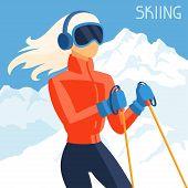 Girl skier on mountain winter landscape background.