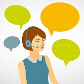 Beautiful Woman Working In A Call Center With Speech Bubbles. Girl Of Customer Service