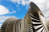 Steam Turbine Of Nuclear Power Plant Against  Sky