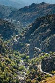 D84 Road And Golo River Winding Through Central Corsica