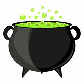 stock photo of witch ball  - black cauldron witches potion for Halloween - JPG