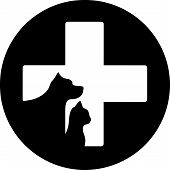 image of cross-breeding  - black round veterinary care icon with cross and pet - JPG