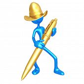 Cowboy With Gold Pen