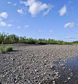 River Landscape In The Polar Urals.