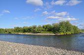 Wild River Landscape In The Polar Urals.