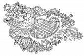 Hand draw black and white line art ornate flower design. Ukraini