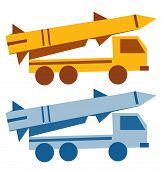 Military missile vehicle cartoon silhouette
